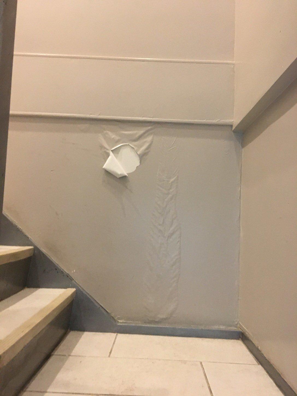 Water seeping through wall